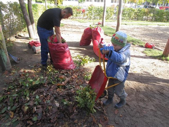 Kita Kind sammelt Laub