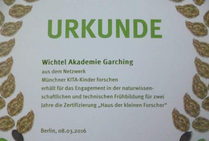 Urkunde - Kita - Wichtel Akademie München